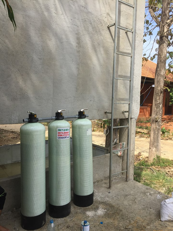 bộ lọc nước phèn 3 cột lọc phèn sạch triệt để sinh hoạt
