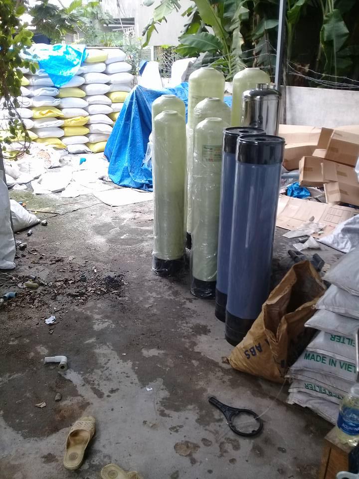 cột lọc nhựa, inox, composite, lọc sạch phèn kim loại tạp chất
